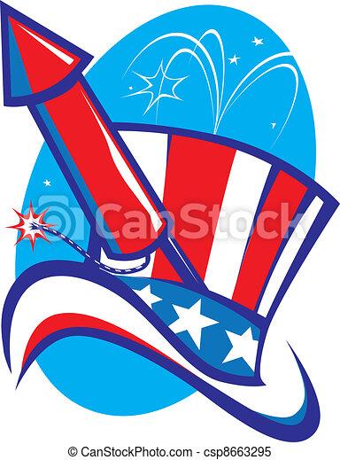 Uncle Sam Hat & Rocket - csp8663295