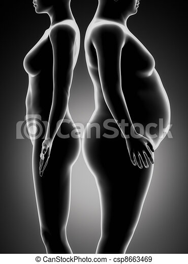 Fat and thin woman comparison - csp8663469