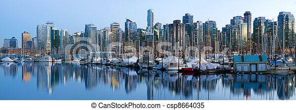 Vancouver BC Skyline along False Creek - csp8664035