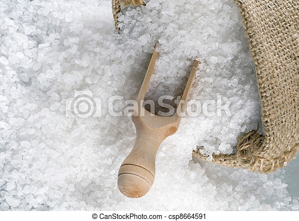 Sea salt in a burlap sack - csp8664591