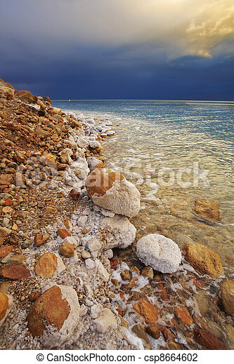 The Dead Sea in a spring thunder-storm.  - csp8664602
