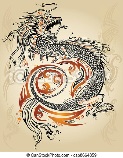 Dragon Doodle Sketch Tattoo - csp8664859