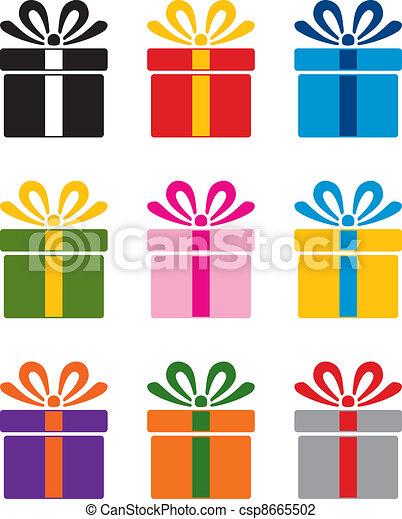 vector set of colorful gift box symbols  - csp8665502