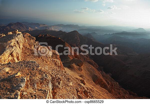 Morning fog in desert Sinai. - csp8665529