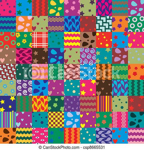 vector patchwork fabric art background - csp8665531