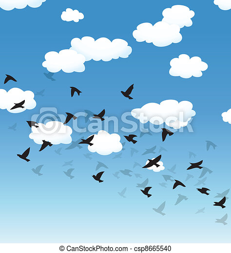 vector flying birds and clouds in the sky - csp8665540