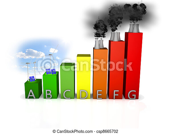 energy efficiency chart over white background - csp8665702