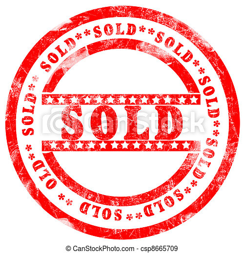 Red sold Stamp over white background - csp8665709