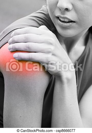 Shoulder injury - sportswoman in pain - csp8666077