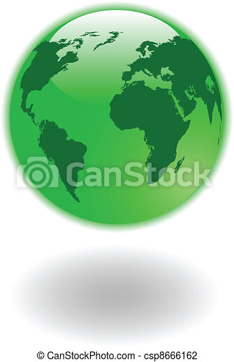 the vector green world map and globe - csp8666162