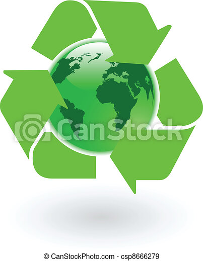 the vector green world globe with recycling symbol - csp8666279
