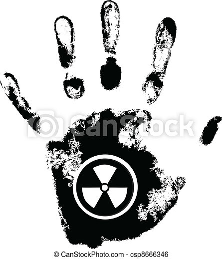 vector hand print with radiation danger symbol - csp8666346