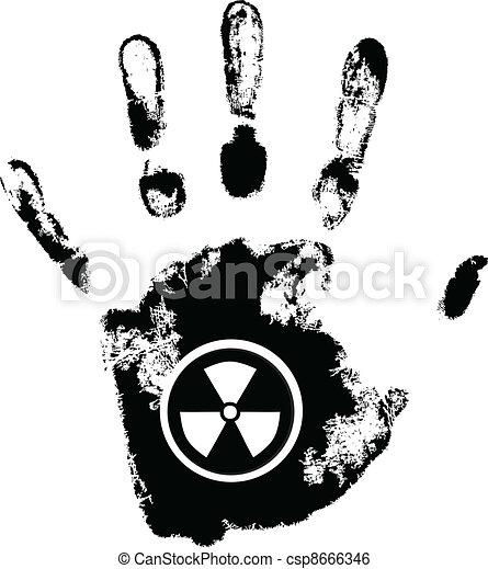 vector hand print with radiation danger symbol - csp8666346