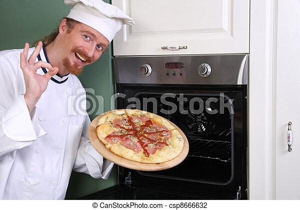 joven, Chef, italiano, pizza, cocina - csp8666632