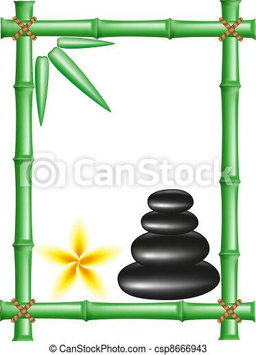 spa zen stones and frame bamboo - csp8666943