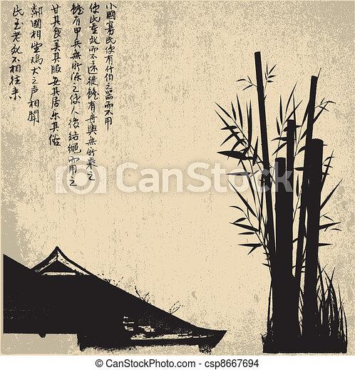ZEN, silhouette, symbols - csp8667694