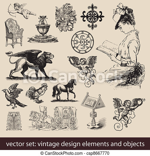 Vintage Elements, Objects - vector set - csp8667770