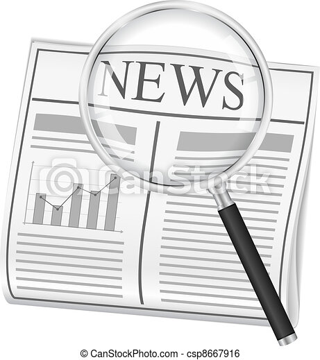 Newspaper and magnifying glass - csp8667916