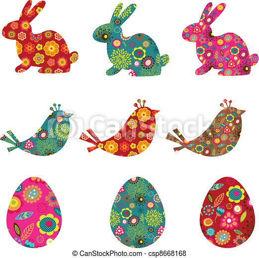 Patterned bunnies, birds and eggs - csp8668168