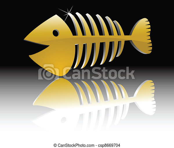 the abstract vector gold fish skeleton - csp8669704
