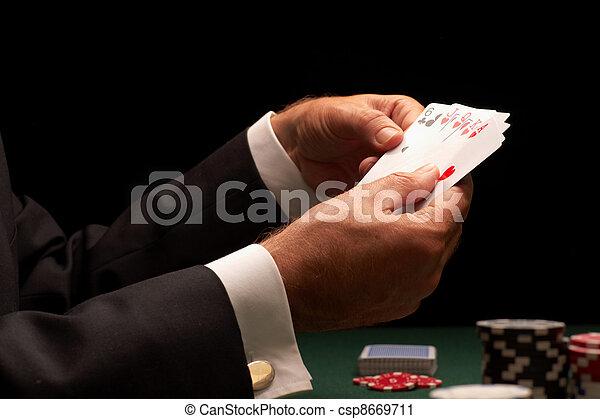 Poker player gambling casino chips - csp8669711