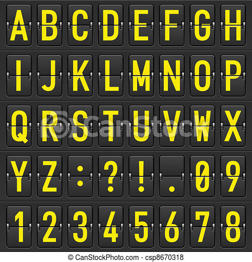 Set of letters on a mechanical timetable - csp8670318