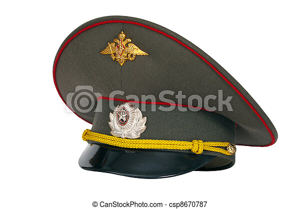 Russian military peaked cap isolated on white background - csp8670787