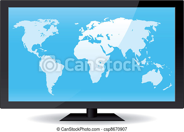 World Map On Flat Screen - csp8670907