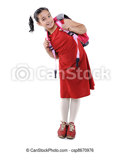Adorable  preteen school  girl wearing red dress isolated, posing - csp8670976