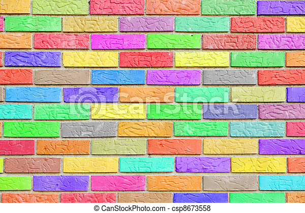 Colorful brick wall pattern background - csp8673558