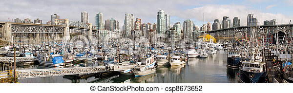 Vancouver BC City Skyline with Burrard and Granville Bridges - csp8673652