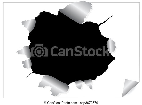 Paper sheet with black ragged hole - csp8673670