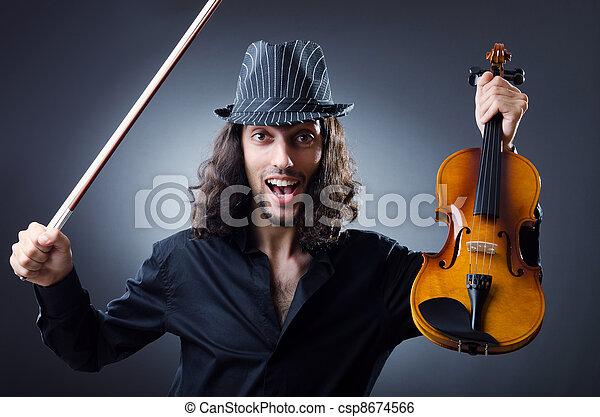 Gypsy violin player in studio - csp8674566