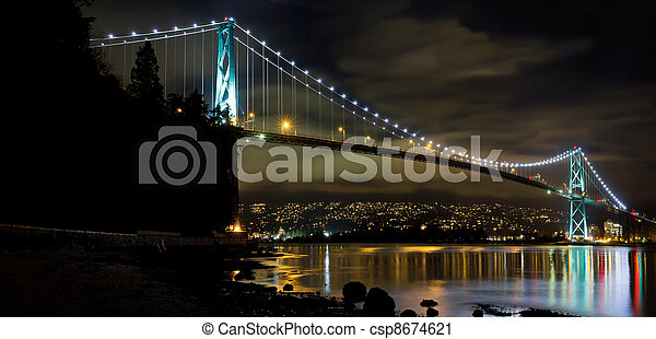 Lions Gate Bridge in Vancouver BC at Night - csp8674621