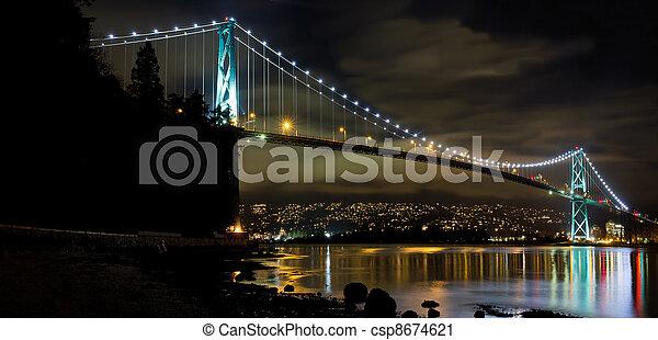 Lions Gate Bridge in Vancouver BC at Night - csp8674621