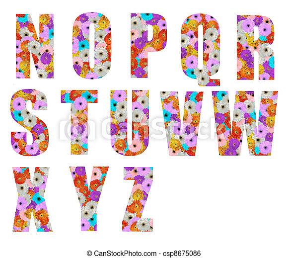 Colored Floral Fonts Floral Font Letter n to z