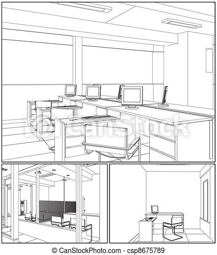 Interior Office Rooms - csp8675789
