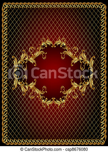 frame background with gold(en) vegetable ornament and net - csp8676080