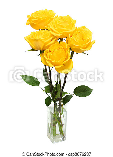 bouquet of yellow roses - csp8676237