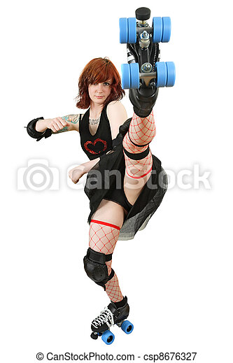 Roller derby girl kicking - csp8676327