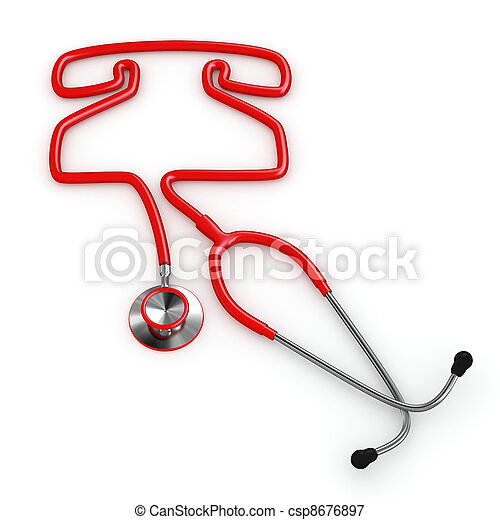 Stethoscope and a silhouette of phone - csp8676897