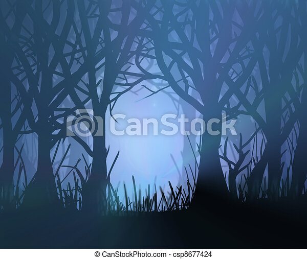 Spooky dark forest. - csp8677424
