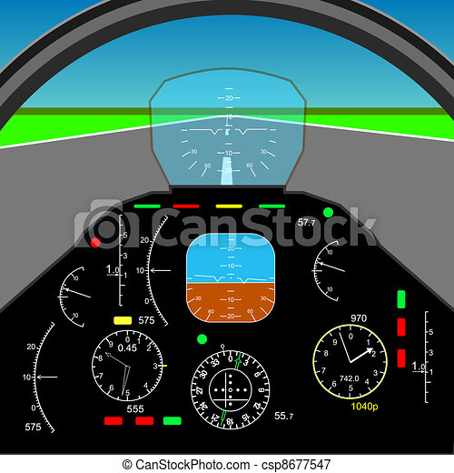 Control panel in a plane cockpit - csp8677547