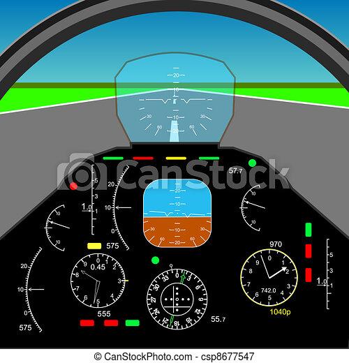 Control panel in a plane cockpit - csp8677547
