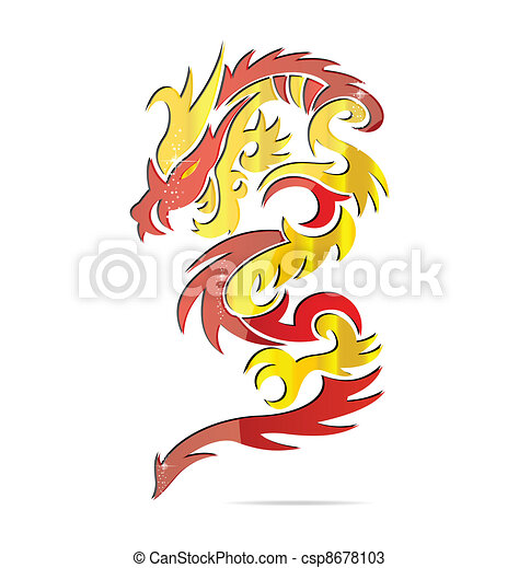 shiny asia fire dragon symbol - csp8678103