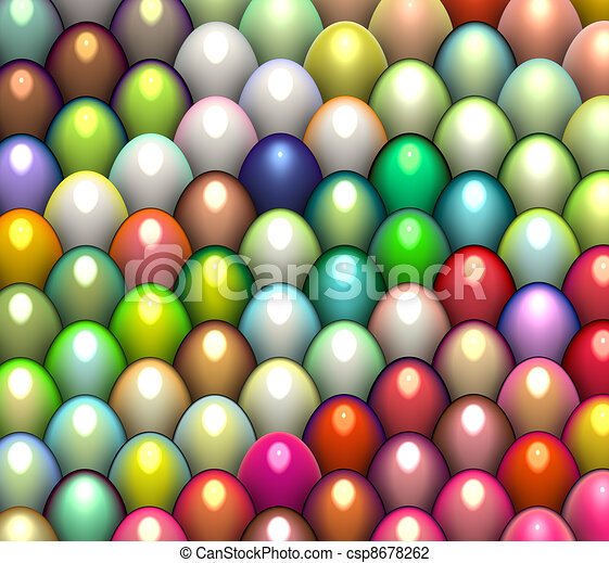 3d render easter egg in multiple bright color  - csp8678262