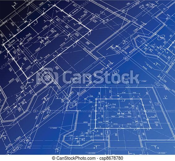 plan, haus, vektor, Blaupause - csp8678780
