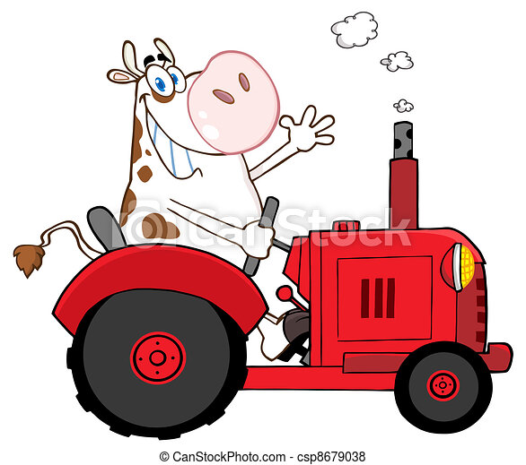 Happy Cow Farmer In Red Tractor - csp8679038