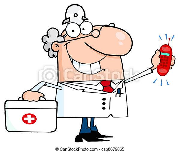 Waving Caucasian Male Doctor - csp8679065