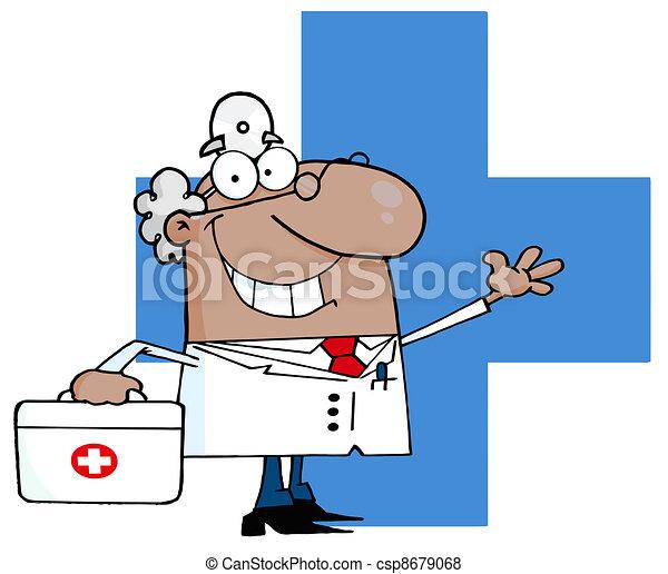 Waving Hispanic Male Doctor - csp8679068